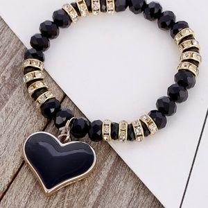 Stretch Bracelet- NEW- Black Heart with Beads
